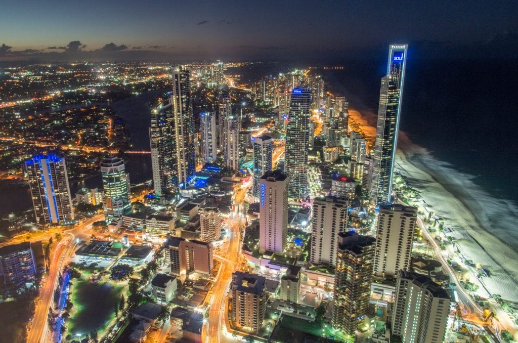 Aerial view of Surfers Paradise, the Gold Coast at night