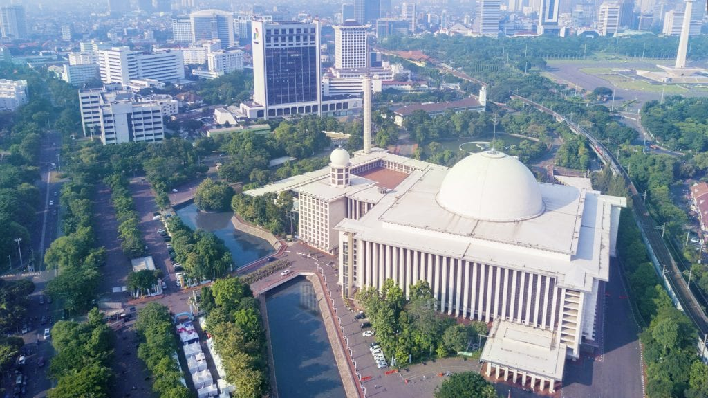 Aerial view of Istiqlal Mosque, Jakarta, Indonesia