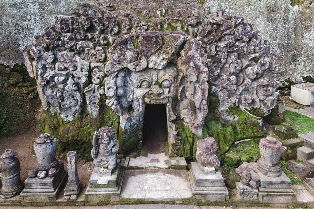 High angle view of the ancient Goa Gajah Elephant Cave temple in Ubud, Indonesia.