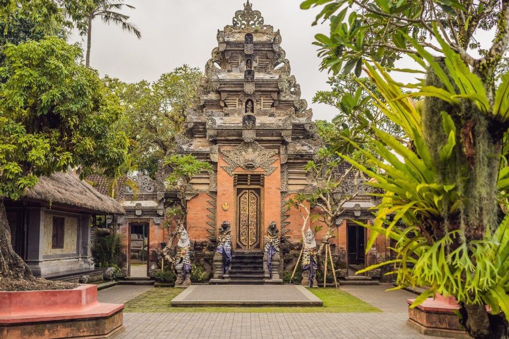 Front facade of Ubud Palace Puri Saren Agung at Ubud, Bali, Indonesia