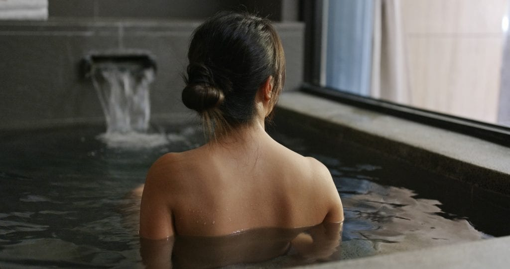 Woman in Japanese onsen