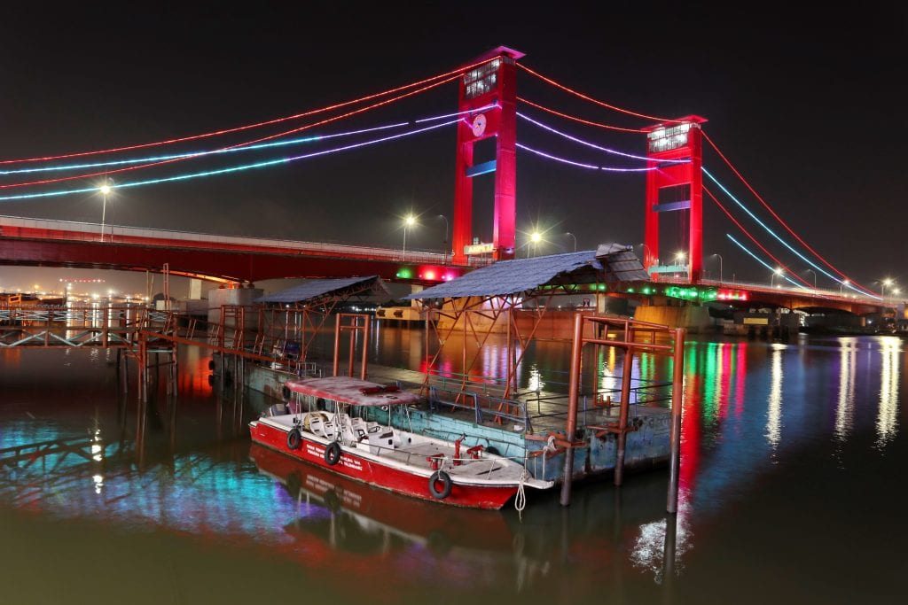 The Musi River in Palembang, Indonesia at night