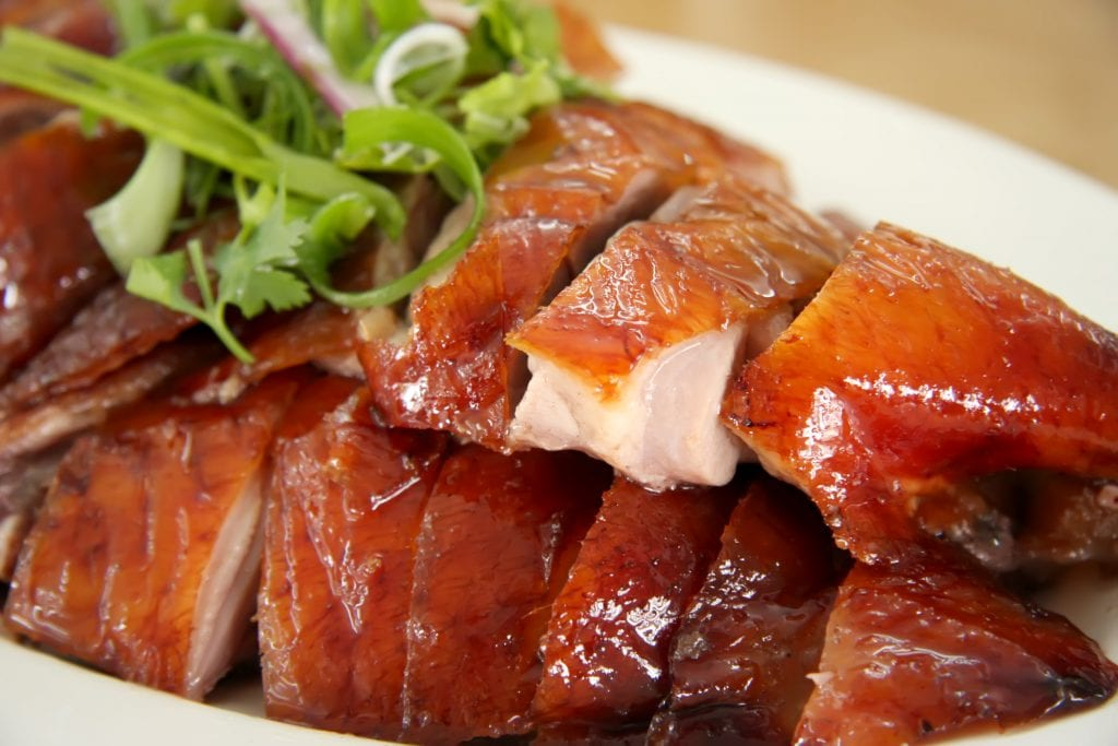 Peking duck slices