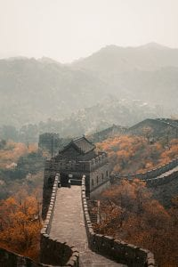 The Great Wall of China aerial shot