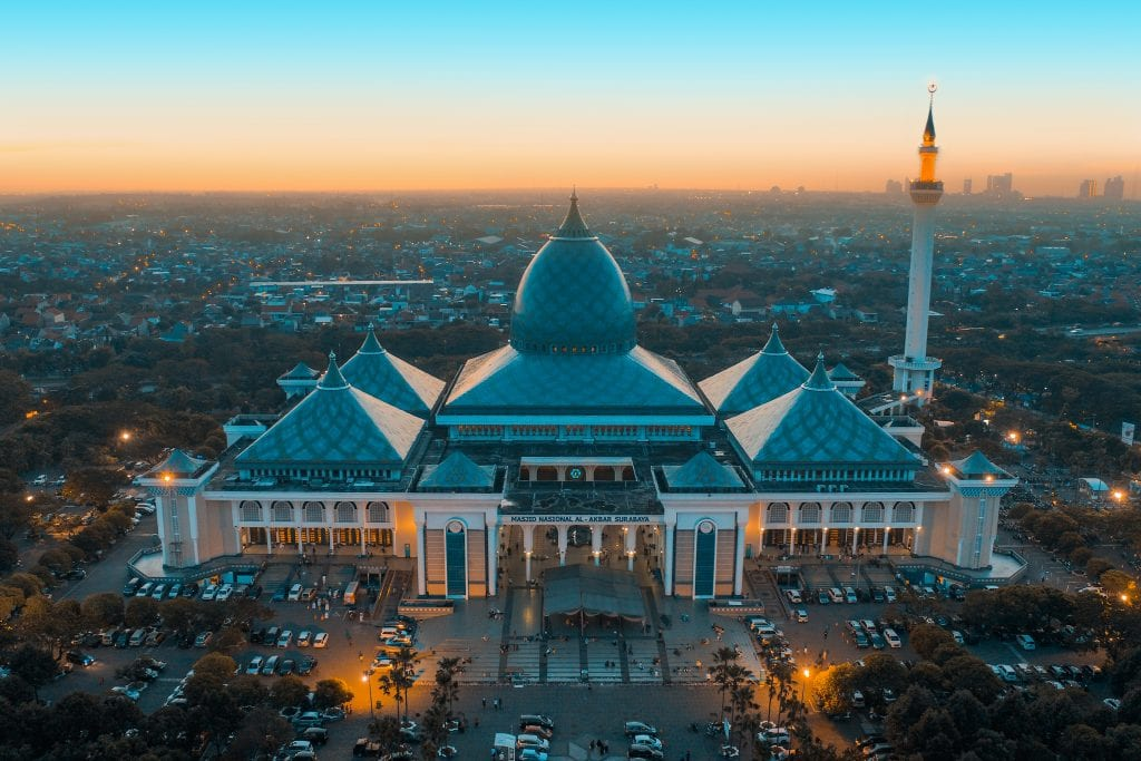Dawn aerial view of Al-Akbar Mosque, Surabaya