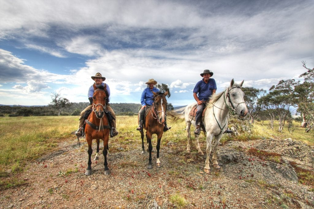 Three horse riders in Victoria's highlands