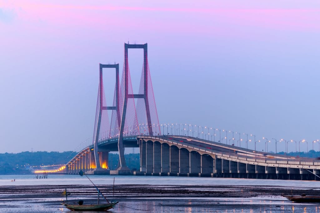 Suramadu Bridge at twilight