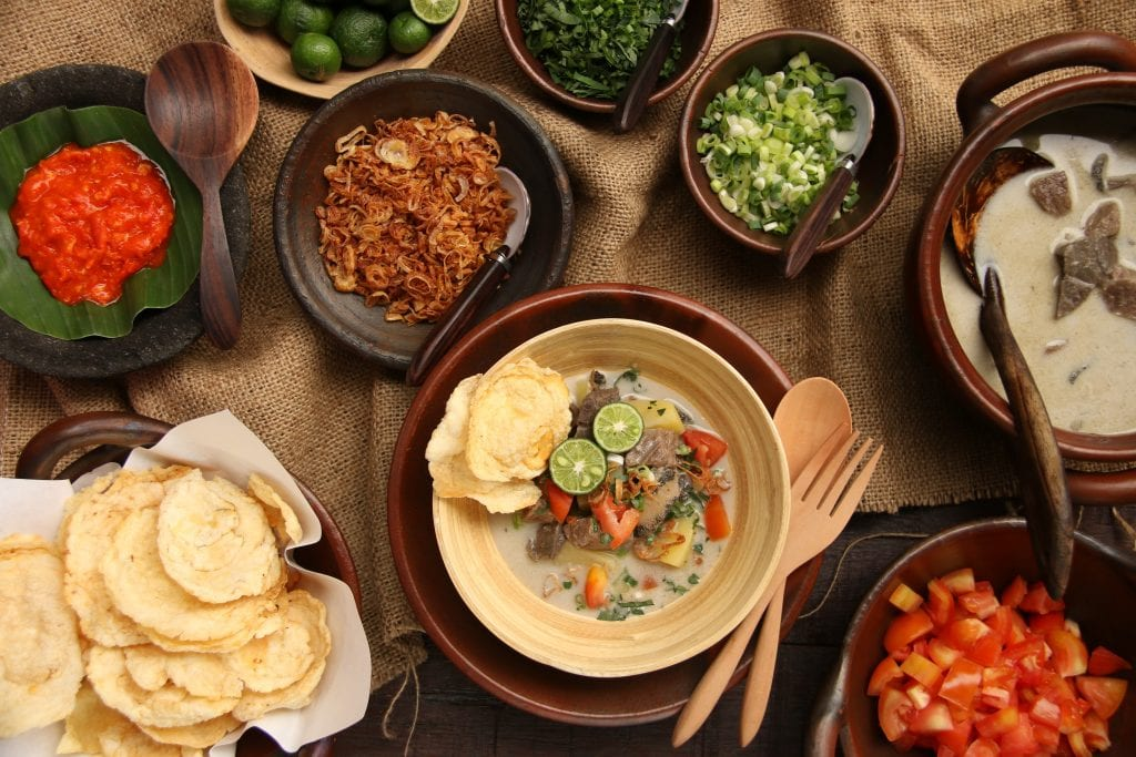 Traditional soto betawi spread