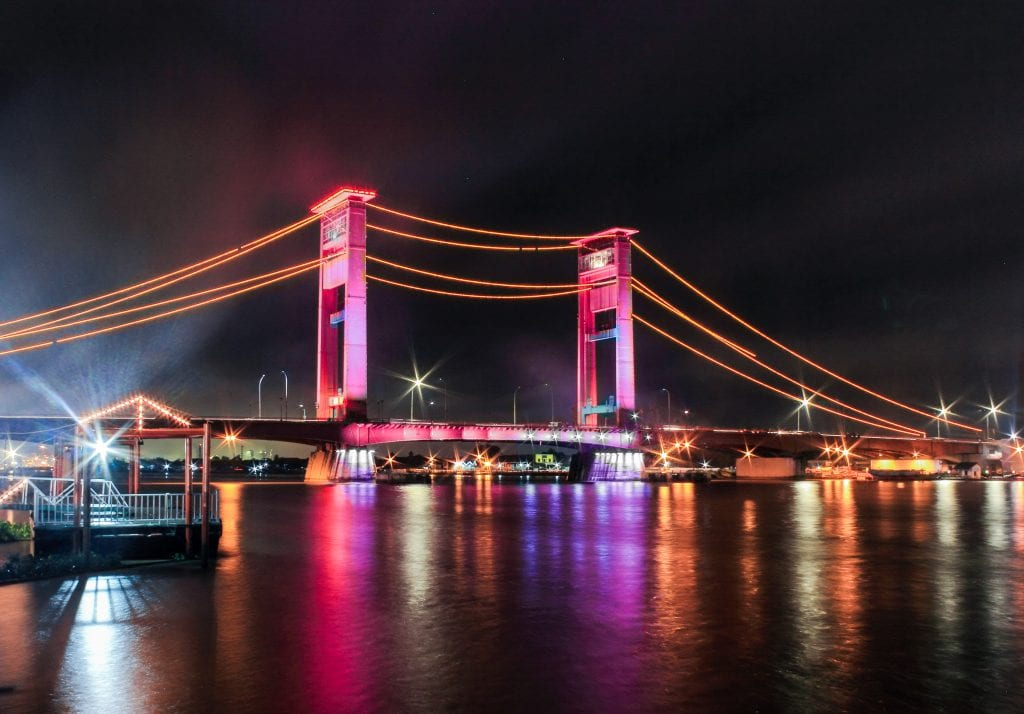 Ampera Bridge in Palembang, Indonesia